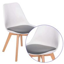Plastic dining chair pp wooden legs soft cushion tulip chair