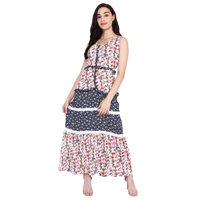 Women Printed Laced Tiered Maxi Dress