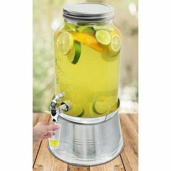 Bottle Dispenser, 2 Glass Mason Jar Beverage Drink Dispenser W/Ice Bucket Stand Leak-Free 1.5gallo