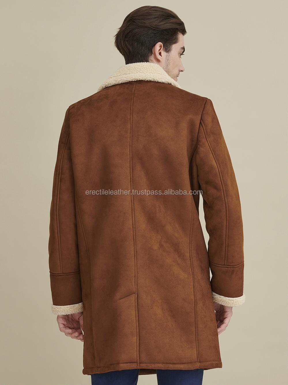 Genuine Leather Men's Faux Shearling Coat Brown Plus Size Winter Style With Wholesale Price