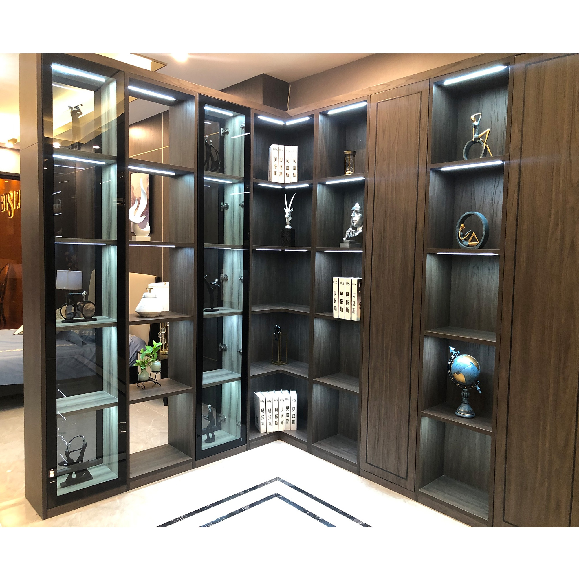 NICOCABINET Italian Design Custom Modern Wood Luxury Bookcase 5 Shelf Book Cabinet With Glass Door