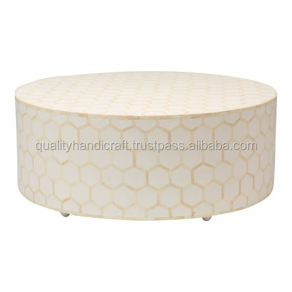 Hot Sale  Bone Inlay Round Hexagon Pattern Coffee Table Bone Inlay  Furniture Handicraft from India
