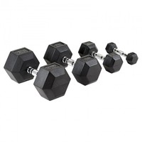 Sport Gym Weight Lift Black Hex Rubber Coated Dumbbell