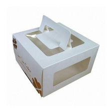 Wholesale cheap price wedding cake boxes with custom handle and pv window design