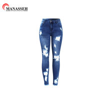 High waist jeans ladies custom super skinny stretch denim pants high quality casual women distressed jeans for female