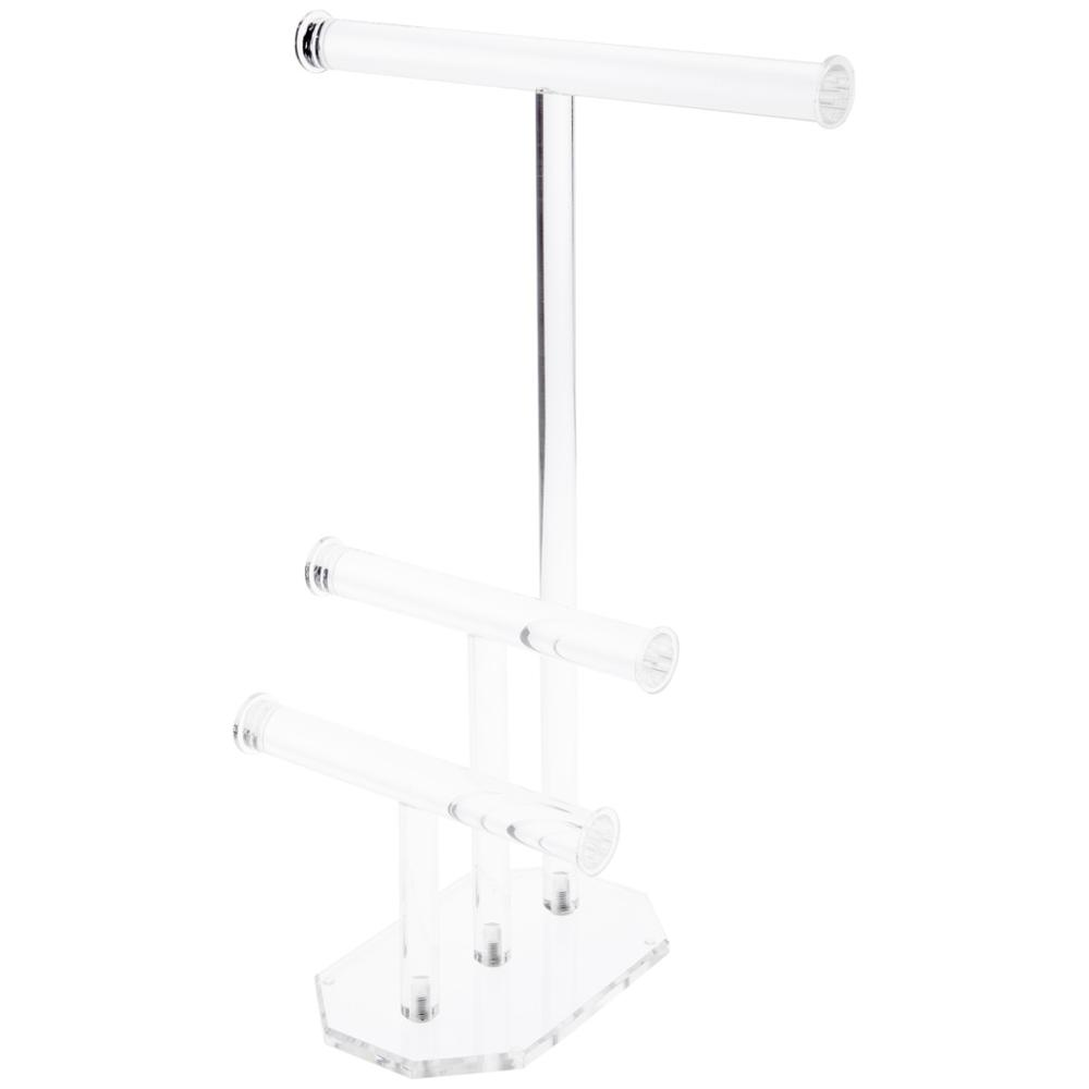 glamdisplay Clear Acrylic 3-Tier T-Bar Necklace &amp; Bracelet Display Stand, <strong>16</strong>&quot; H <strong>x</strong> <strong>12</strong>&quot; <strong>W</strong> <strong>x</strong> 8&quot; D
