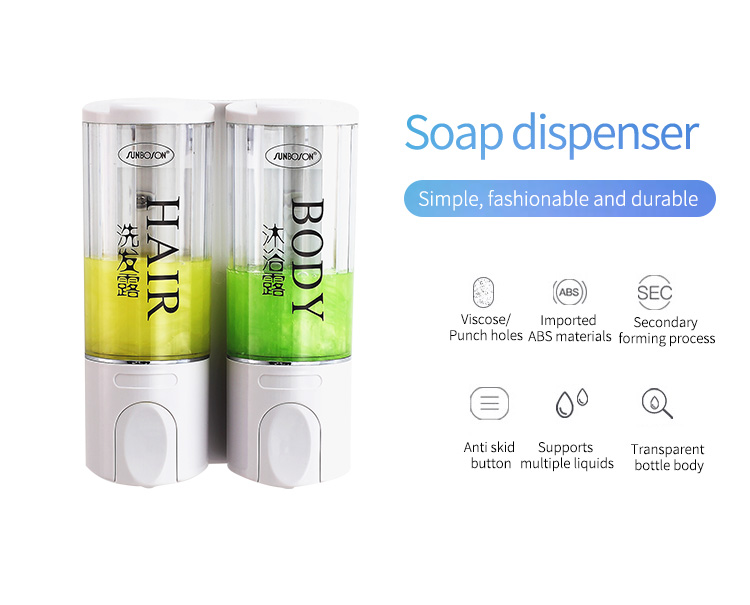 Hot Sell Double Manual Soap Dispenser For Hotel And Bathroom