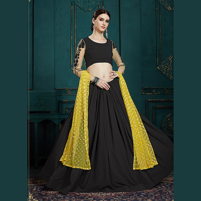 Latest Designer Sequins And Thread Work Georgette Lehenga Cholis Collection