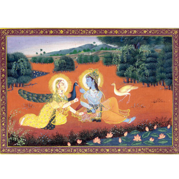 Radha Krishna Painting Religious Hindu God Goddess Very Fine Folk Art