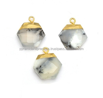 Dendrite Opal Hexagon Shape Gemstone Gold Cap Pendant