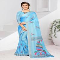 Indian Designer Colour Sky Blue Sky Blue Ethnic Party wear Linen Silver Border Traditional And Wedding Wear Saree