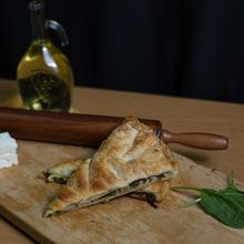 Delicious Famous Bakery Food Traditional Crispy Spinach Feta Cheese Pie From Greece with Fresh Spinach Feta Cheese Eggs Onion