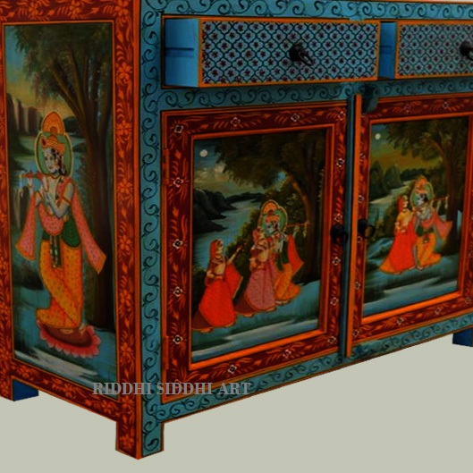 Lorad Krishna Hand Painted Wooden Antique Sideboard High Living Room Retro Furniture