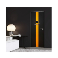 Interior Door with 3d Wallpaper Yellow Stripes Garage Surface Design
