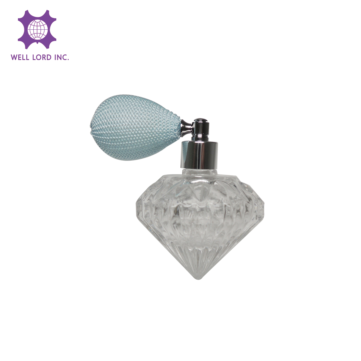 Elegant Valentine' s day gift for ladies light blue bulb atomizer diamond shape glass bottle 35ml