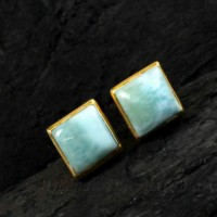 new arrival dominican larimar gold plated stud post 925 silver handmade jewelry gift for girlfriend earring
