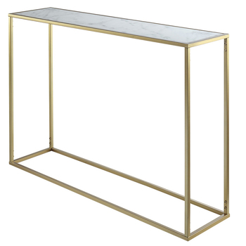 Square marble top console table convenience concepts gold coast faux marble console table