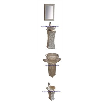 Factory wholesale marble pedestals sinks basins handcarved wash basins free standing Beige marble