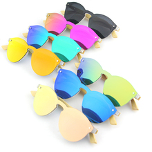 FDA CE Wholesale Mirror Rimless China Wood Bamboo Sunglasses Frameless Custom Logo UV400 Cat.3 2019 Wooden Sunglasses