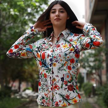 Floral Women Dress shirt  Floral  Shirts women shirt dress