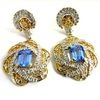 Diamond Gold Earrings Natural Blue Sapphire Earrings in 14K HM Gold