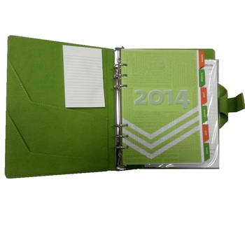Leather Green Planner Ring Binder With Customizable Size, Design