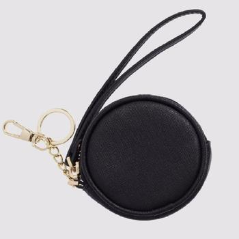 Women's Round Shape Leather Coin Purse Coin Pouch With Key Ring