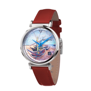 Van Gogh Watches I-SLMF-09 Stainless Steel case with Leather strap and 3D printing dial, Lady Watch, Van Gogh Museum Authorized