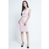 Pastel pink sheath dress with waist belt for office ladies