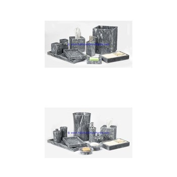 Eco-friendly marble bathroom accessories set gray tumbler, tooth brush, tissue box, holder, soap pump, dish, dustbin, tray