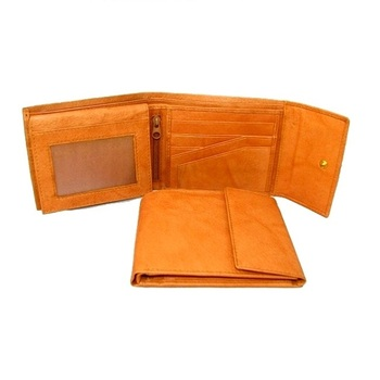 New vintage style trifold leather mens wallet