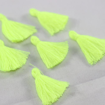 Mini Earring Tassels, neon yellow tassel jewelry
