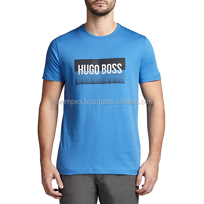 Blue printed t-shirt best quality and prices with custom t shirt printing