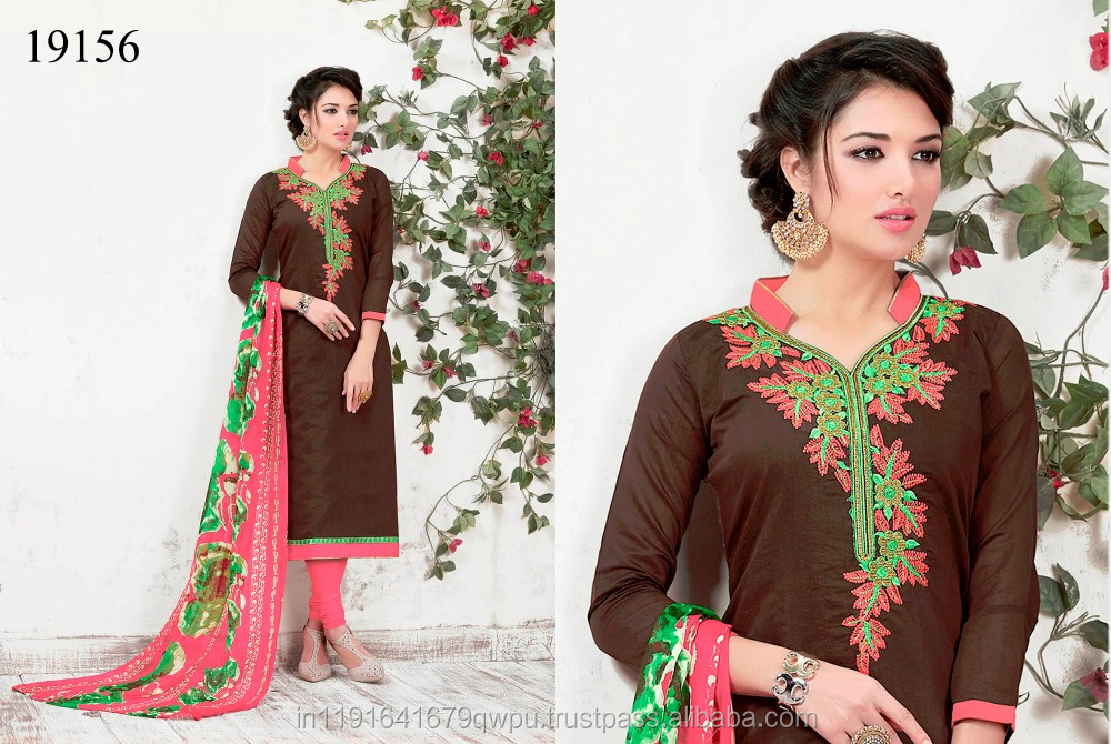 Brown Colour Party Wear Designer Embroidery Fancy Chudidar Dress Material In Surat Indian Wholesaler