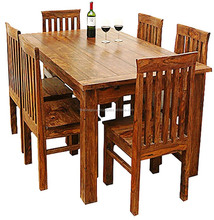 Natural color six chair wooden dining table