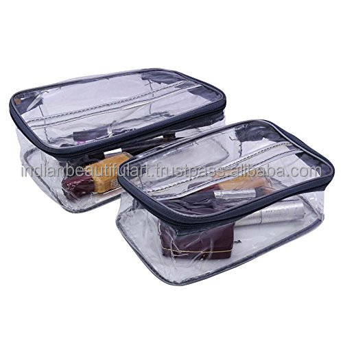 Designer Plastic Pouch Portable Makeup Toiletry Organizer Storage Bag 1 Pair BG634A