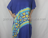 Caftan, Midi Dress, Resort Wear, Batik Kaftan Longdress Muumuus - Purple with Blue Yellow Tjanting Pebbles Free Shipping.