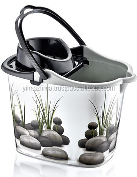 Plastic cleaning bucket with strong plastic handle and with various patterns