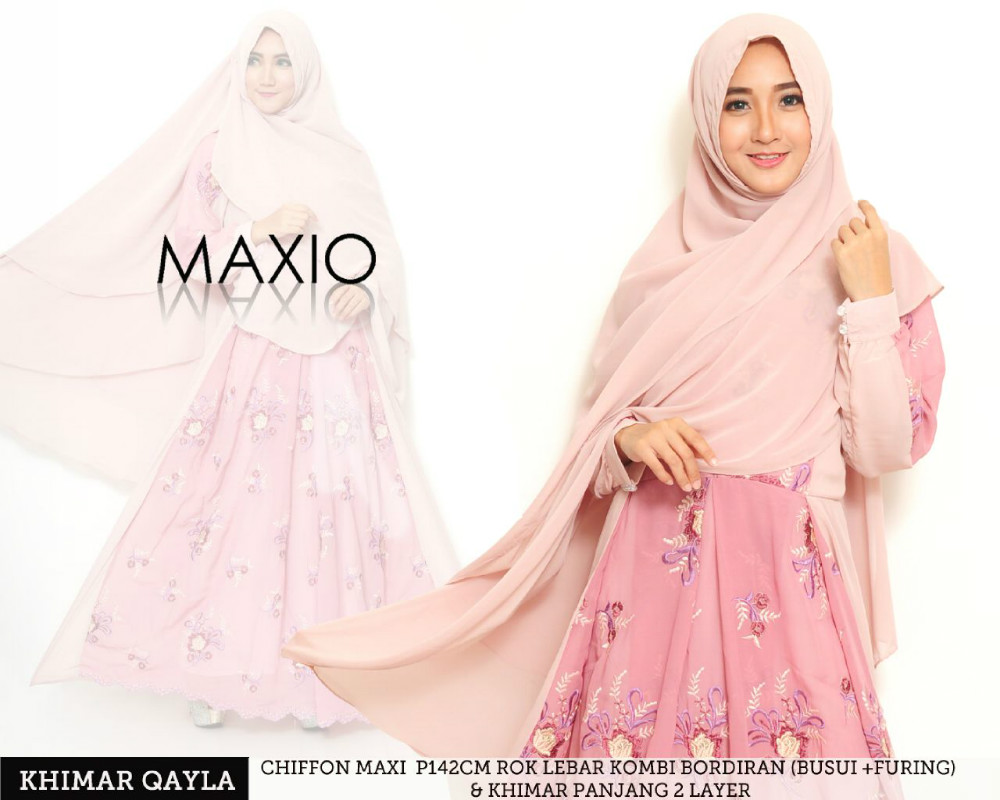 Flowerly chiffon abaya with big hijab