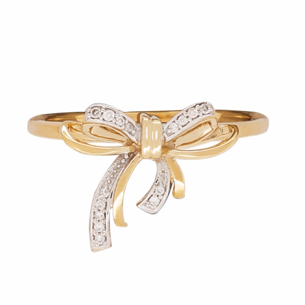 Store Indya 925 Sterling Silver Bow Knot Ring with Gold and Rhodium Plating Diamond Treated (I3 Clarity) (Size 7)