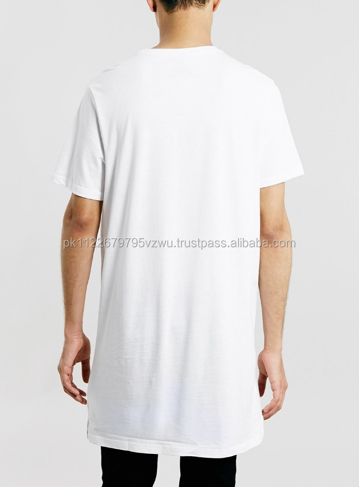 mens bulk blank longline short sleeve vented tee made in Pakistan products