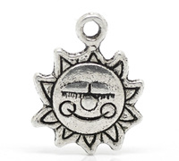 "50PCs Antique Silver Sun Flower ""Made with a Smile"" Charm Pendants 16mmx12mm( 5/8""x 4/8"")"