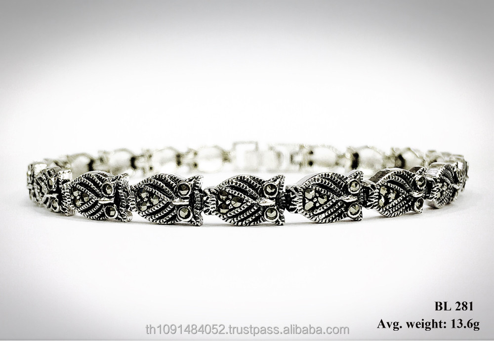 Silver bracelet fashionable jewelry with Swiss marcasite in Owl design for accessory and souvenir