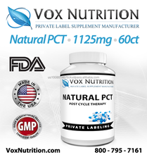 Natural Post Cycle Therapy 1125mg Supplement 60 Count - Private Label Natural PCT Sports Supplement