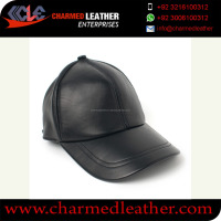 baseball leather caps - fashion black leather snap back cap with 3D