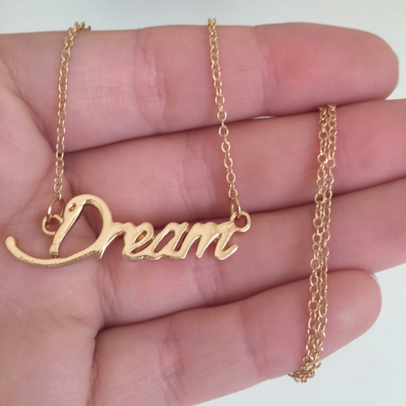 Dream Letter Necklace Gold Plated Charm Name Chain