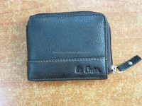 Mens Genuine Leather Zipper Coin Wallets