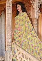 Yellow Georgette Designers Saree/Mumbai Wholesale Sarees/Surat Wholesale Sarees
