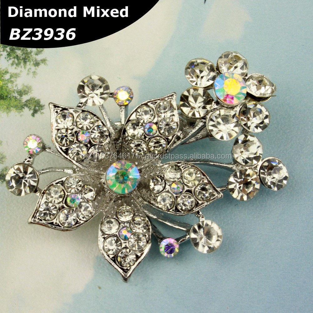 Rhinestone Flower Brooch Kerongsang Malay Muslim design for shawl tudung scarf