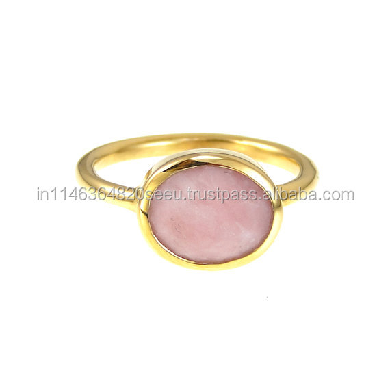 Handmade Pink Chalcedony 925 Sterling Silver Ring For Womens